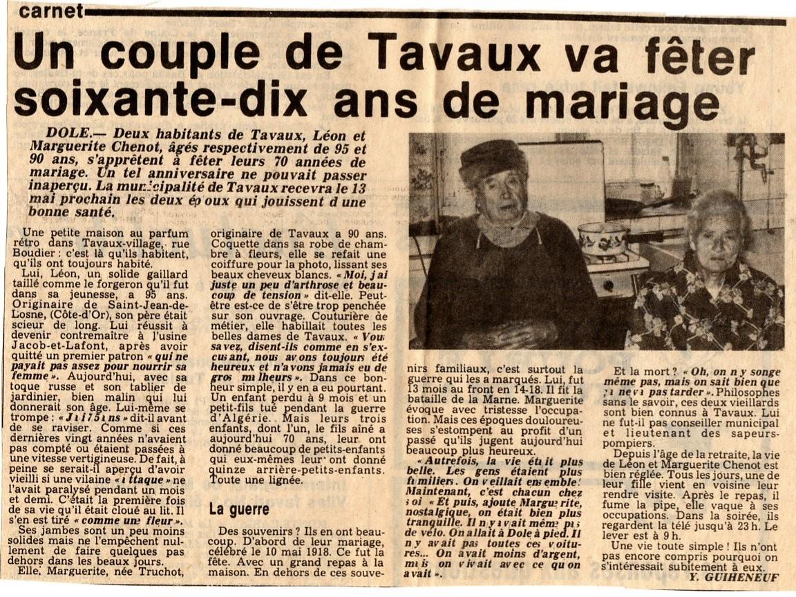 Article paru dans la presse à l'occasion des 70 ans de mariage